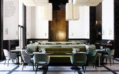 Monsieur Bleu, Joseph Dirand-designed restaurant at the Palais du Tokyo in Paris (custom tables/banquettes, Eero Saarinen chairs)