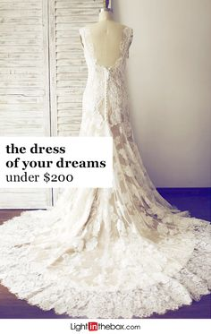 Feel like a princess in this Trumpet Mermaid Wedding Dress with a court train, a delicate buttoned back and exquisite lace and satin detailing, It's champagne color is sure to stun as you elegantly walk down the aisle. Find the perfect dress for your big day at lightinthebox.com.