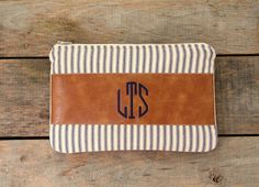 monogrammed clutch / stripes / faux leather / tan blue navy / nautical / makeup bag / spring summer fall fashion / rustic / bridesmaid
