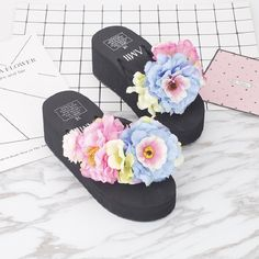 >> Click to Buy << VANLED Steps-In Wedges Flower Decorated Black Lady Sandals Shoes Women For Hot Holiday Cool Taking Shoes Non-Slip Breathable #Affiliate
