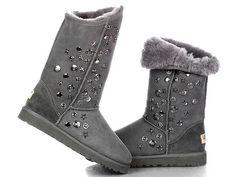 Jimmy Choo Uggs Women's Tall Sheepskin Boots Grey
