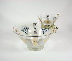 Vintage Grapes Pattern Chip and Dip Set by vintagefindsetcetera, $24.00