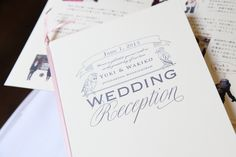 """""""WEDDING Reception"""" by Copperplate Gothic font & Bellissima Script Pro font"""