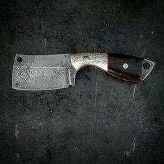 "Vorn ØX -  mini cleaver  For Sale - $210 shipped  S35vn stainless steel 5.75"" OAL Elk antler / African blackwood handle Leather sheath included"