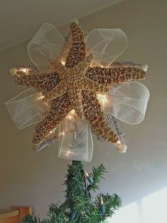 Items similar to Starfish Tree Topper Lighted Christmas Tree Top Starfish tree Star Coastal Beach Gift Christmas tree star topper CLEAR GLITTER 11 Inch Large on Etsy Beach Christmas Trees, Coastal Christmas Decor, Nautical Christmas, Tropical Christmas, Noel Christmas, Christmas Tree Toppers, Christmas Projects, Christmas Crafts, Christmas Ornaments