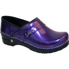 Sanita Women's Amethyst Casual Clog in Purple Metalic Patent