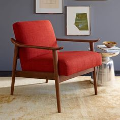Mid-Century Show Wood Upholstered Chair - Cayenne (Heathered Weave) | west elm