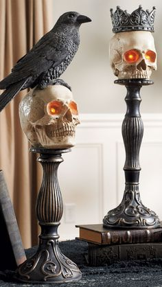 "Add to the ""eek factor"" in your displays by adding our Skull Head on Pedestal."