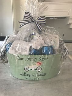 Diy Bridal Shower Gift Basket Our Journey Has Just Begun throughout Bridal Shower Basket Gifts - Party Supplies Ideas Couples Shower Gifts, Bridal Shower Gifts For Bride, Bridal Gifts, Bridal Showers, Wedding Gifts, Diy Wedding, Wedding Reception, Bridal Gift Baskets, Bridal Shower Baskets