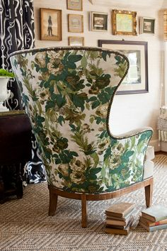 Lauren Leiss Design. Fabulous combo of modern wing chair, trad floral, velvet and nail heads.