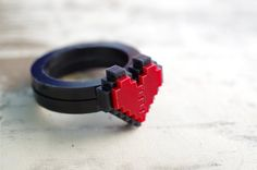 Pixel Heart Acrylic Ring Plastic for couple and by Nastalgame