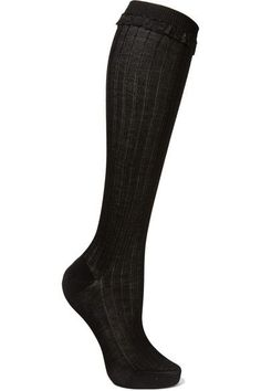 Prada - Lace-trimmed Ribbed Cotton Knee Socks - Black - 2