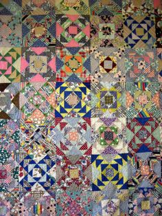 Vintage quilt - interesting how the same block looks SO different with a change in fabric.