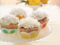 The classic, fabulous pairing of coconut, pineapple, and rum served up in the form of Piña Colada Cupcakes. #food #drinks #cupcakes #tropical #coconut #pina_colada