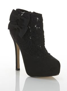 black lace bow boot
