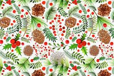 Margaret Berg Art: Pine+Cones+&+Berries+Pattern+