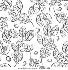 Cartoon hand-drawn doodles on the subject of cafe, coffee shop theme seamless pattern: купите это векторное изображение на Shutterstock и найдите другие изображения.