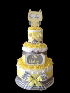 Neutral Chevron Yellow and Gray Owl Diaper Cake Baby Shower Centerpiece on Etsy, $45.00