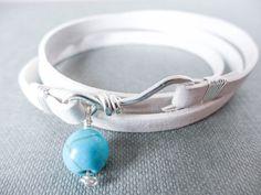 White leather bracelet, triple wrap bracelet, infinity bracelet, wrap around bracelet, friendship bracelet, silver catch, beaded bracelet