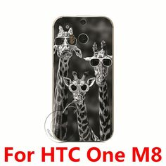 Giraffe With Glasses Hard Plastic Case Cover For HTC One M7 M8 M9