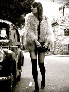 #Black and white lady passing a classic car Like,repin,share! :] Thanks