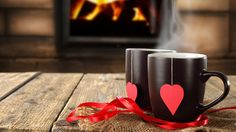 Download wallpaper cups, hearts, bow, lyubov.valentine 's day, mood resolution 1366x768
