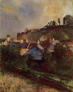 Edgar Degas, Houses at the Foot of a Cliff (Saint-Valéry-sur-Somme), 1898 Oil on canvas on ArtStack #edgar-degas #art