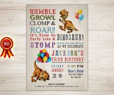 Dinosaur Birthday Invitation Dinosaur Invitation by TopDigitalArt