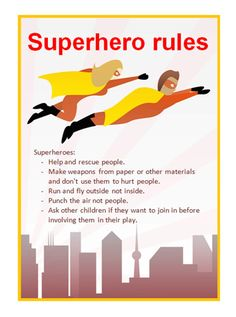 Editable Superhero Rules Poster...Editable poster which can be used to outline your school / nursery rules for superhero / war play. #superheroes