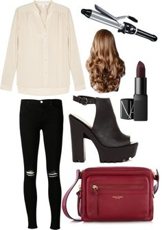 Cream blouse and maroon bag