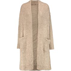 Current/Elliott The Long Slash Pocket distressed alpaca-blend cardigan (9.950 RUB) ❤ liked on Polyvore featuring tops, cardigans, beige, distressed top, relaxed fit tops, long length cardigan, long cardigan and long tops