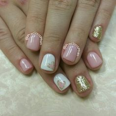 Baby pink and gold nails with a heart. #PreciousPhanNails