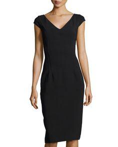V-Neck Princess Sheath Dress, Black  by Michael Kors at Neiman Marcus.