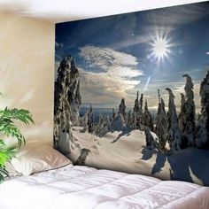 Wall Snowscape Tapestry. I PINNED A BUNCH OF THESE. SITE SENDS YOU TO TOP OF LIST TO BROWSE ALL 2,000+ CHOICES.  Cheap! $12-$20 ea