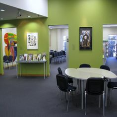 Colour.  Art.  Display of artwork inside Burnside High School Library | Services to Schools