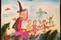 Paint your own pictures of Room on the Broom, with yourself on the broom!