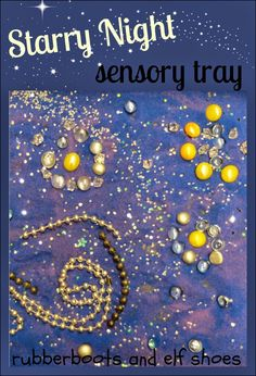 Starry Night sensory tray - rubber boots and elf shoes Sensory Activities, Sensory Play, Sensory Diet, Classroom Activities, Sensory Table, Sensory Boxes, Kindergarten Art, Preschool Art, Art For Kids