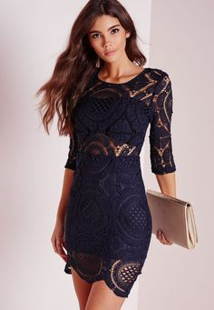 Lavish in lace in this smokin' hot wardrobe lust have. This navy bodycon-tagious mini dress is our current favourite party dress, with silver zip back detail and and all over lace you can ensure all eyes are on you . Style with some barley . Trendy Dresses, Tight Dresses, Sexy Dresses, Cute Dresses, Evening Dresses, Short Dresses, Fashion Dresses, Cute Outfits, Party Dresses