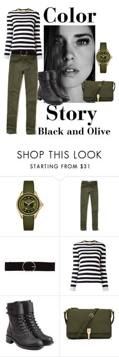 """""""Black and Olive"""" by ahapplet ❤ liked on Polyvore featuring Michele, Hollister Co., Vero Moda, Gucci, Philosophy di Lorenzo Serafini, Elizabeth and James, black, olive and ahapplet"""