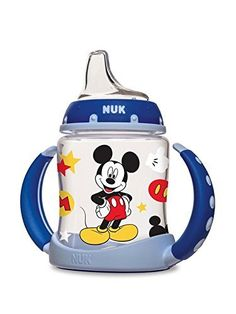 The NUK Disney Mickey Mouse Learner Cup will help your baby transition to a sippy cup in style. NUK Learner Cups are designed to help transition your baby from breast or bottle to cup easier. The spill-proof, soft spout is designed to be gentle on gums while teaching baby to drink from a spout. The removable anti-slip, easy-grip handles fit comfortably into your little ones hands and once removed, fits most cup holders! Every learner cup spout includes an air vent that helps reduce…