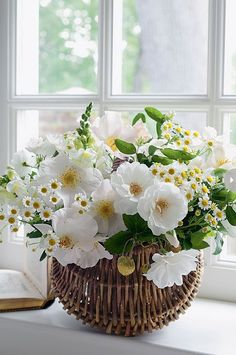 white flowers bouquet by Carolyne Roehm My Flower, Fresh Flowers, White Flowers, Beautiful Flowers, Flower Basket, Flower Power, Spring Flowers, White Anemone, Flower Center