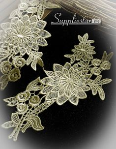 Champagne or Red Floral Lace Applique x 2 Wedding Item No. 207 & 220 by Suppliestar #garment #supplies #lace #appliques #crafts