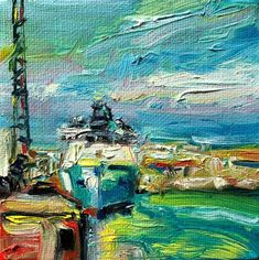 """original mini oil painting by Irene Duma. """"Late Afternoon Light on the Harbour"""" """"originalart Ship Paintings, Mini Paintings, Winter Light, Newfoundland And Labrador, Daily Painters, Canadian Art, Affordable Art, Oil Painting On Canvas, Lovers Art"""