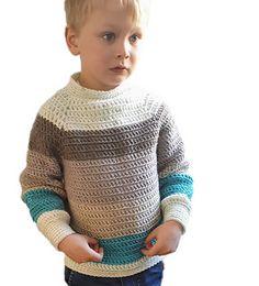 Karamell Sweater Crochet pattern by Hooked by Anna Crochet Toddler Sweater, Crochet Jumper Pattern, Crochet Baby Sweaters, Crochet Jacket, Crochet For Boys, Crochet Clothes, Crochet Patterns, Crochet Children, Moda Crochet