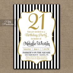 21st Birthday Invitations  Black & Gold Glitter by NiftyPrintables, $15.00