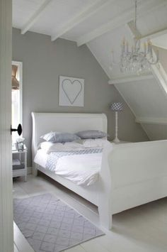 Soothing gray walls with white ceiling.