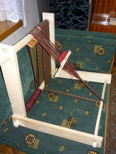 From a Polish blog, This set up looks very similar to one I found for teaching tablet weaving to children at an SCA event.