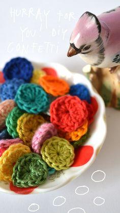 Crochet confetti! Cute idea for a craft party!