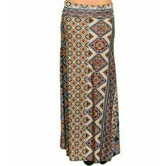 Boho chic maxi skirt Size Small 5/6 Fabulous and trendy maxi skirt with fold over waistband. Silky soft polyester with a touch of apandex. Not sheer or see through. Perfect for all season. Pair sandals and a tee for the Summer. Fall pair with your favorite boots and oversized sweater. Size Small 5/6. Brand new with tags. This goes perfect with the purple open shoulder top I have listed. Skirts Maxi