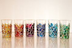 Candle holders   Hand painted stained glass. colorful rainbow